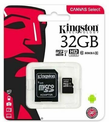 Kingston 32gb Micro SD SDHC Memory Card Class 10 With Adapter 100mbs Speed Uhs-i