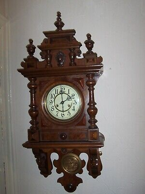 Lovely Antique Junghans Freeswinger Time & Strike Wall Clock Working Great.