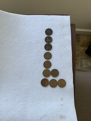 10 X ONE PENNY's Various Dates. Ideal For Coin Collection.english