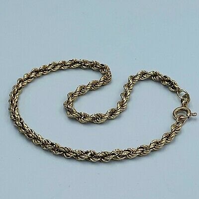 "Solid 9ct 375 Yellow Gold Rope Twist  Chain Bracelet 8 1/2"" L121"