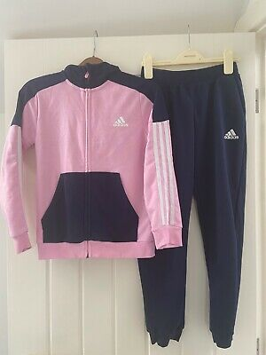 Girls Adidas tracksuit navy/pink age 9-10, good condition