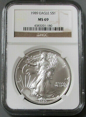 1989 American Silver Eagle $1 Dollar Coin Ngc Mint State 69 Ms 69