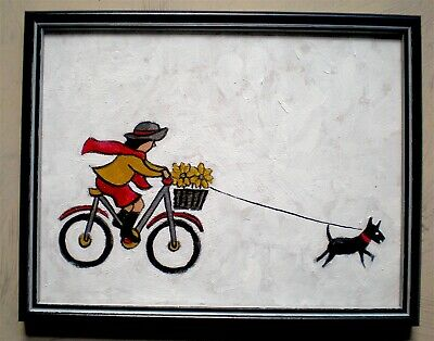 Original Painting Of Girl Riding A Bike With Dog In The Style Of L. S. Lowry