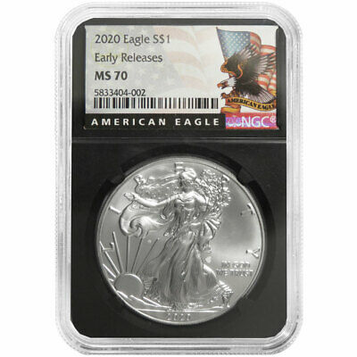 2020 $1 American Silver Eagle NGC MS70 ER Black Label Retro Core