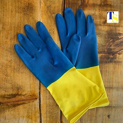 2 x Rubber Gloves - Extra Strength Thick LARGE Pair - cleaning household kitchen