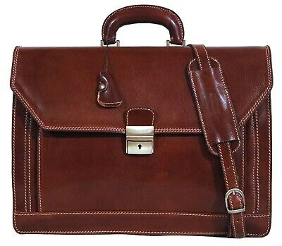 Italian Leather Briefcase Messenger Bag Attache Brown  (68S)