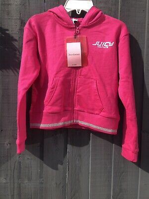 😍New Girls Juicy Couture Pink Silver Hoody Zip Up Sweat Top Age 10-11 Yrs 😍