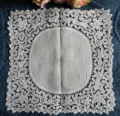 "Antique/Vintage Hand Made Tape Lace Wedding Hanky~Fine Cotton Center~11"" Square"