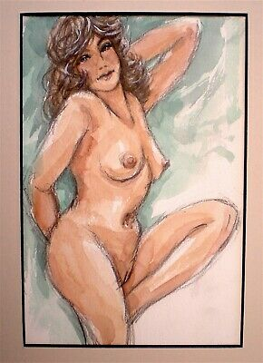 Original Sensuous Pin Up Style Female Nude Watercolour Painting