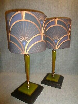 """Decor Splendor"" Art Deco Green Bakelite Lamps (pair) w/Designer Fabric Shades"