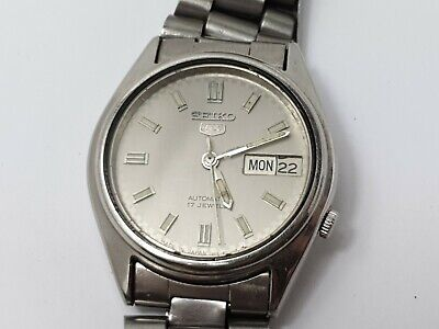 Seiko 5, 7009-6001 Mens 17 Jewels Automatic Day / Date Watch, Grey Dial, Working