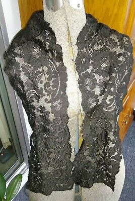 "Antique/Vintage Spanish Black Silk Lace Stole~Scarf~60"" X 6 1/2""~Mourning"