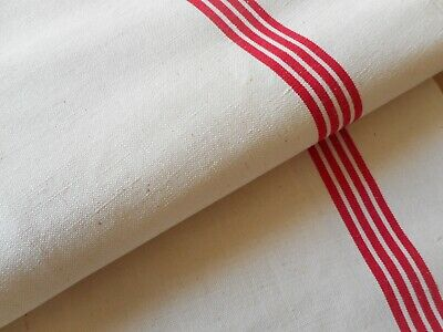 Vintage French Linen Cotton Metis Toweling Fabric ~Red Ticking Stripe~Fleur Bleu