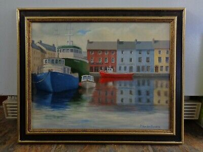 P. Van der Auwera Canadian Oil Painting on Canvas Harbour Galway Ireland
