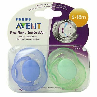 Philips Avent BPA Free Freeflow Pacifier, 6-18 Months, Blue/Green, 2 pack
