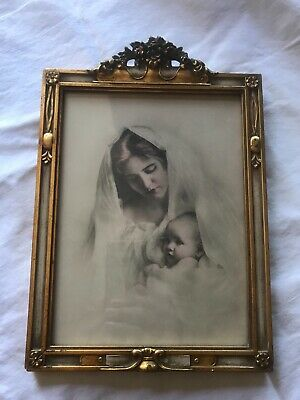 antique barbola frame with lovely mother and child. 1920's