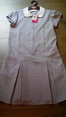 Marks And Spencer Girls Navy School Summer Dress stain defense Age 11 years bnwt