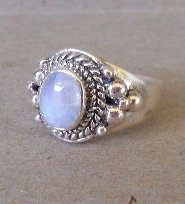 Handmade Sterling Silver Moonstone Vintage Retro Style Ring Sz 9 --ONE OF A KIND