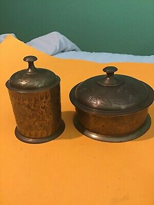 2 Vintage Floral Etched Brass Jar with Lid Made in India,flowers Dish Container