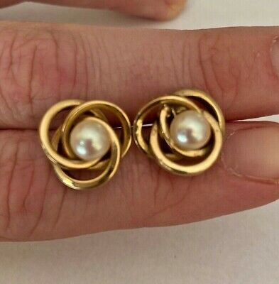 Estate 14K Yellow Gold Knot Earrings with Pearl