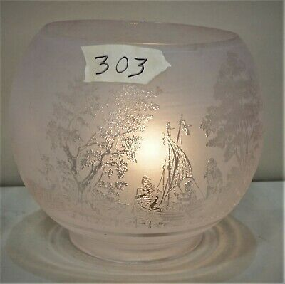 Victorian Frosted Etched Glass Fishing Scene Oil Lamp- Gas Shade