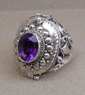Handmade Sterling Silver Amethyst Poison--Keepsake--Cremation Ring Size 6 or 8