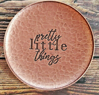"""Trinket Tray Brass Color """"Pretty Little Things"""" Round 4 1/2 Circle Gift"""
