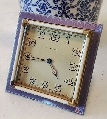Art Nouveau Deco Sterling Silver Guilloche Travel Clock Swiss 8 Day Purple Works