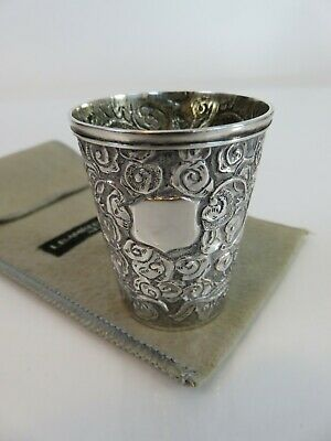 Chinese Export Coin Silver Dragon Liquor Double Jigger Shot Cup & Bag c1880s