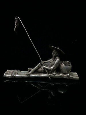 Decoration Noble Miao Silver Carved Old Man Fishing Auspicious Beautiful Statue