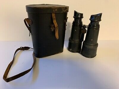 """Chevalier """"Day & Night"""" Binoculars Late 1800's With Case and Strap"""