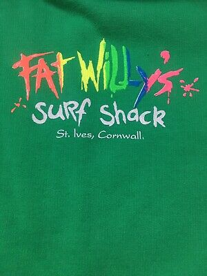 FAT WILLYS SURF SHACK Green Unisex Hoodie Jumper VGC Aged 7-8 Years