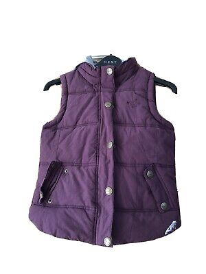 NEXT Girls Purple Animal Print Lined Padded Hooded Gilet Age 9-10yrs