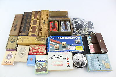 Job Lot Of Assorted Vintage GAMES Inc Playing Cards, Cribbage Boards, Dominoes