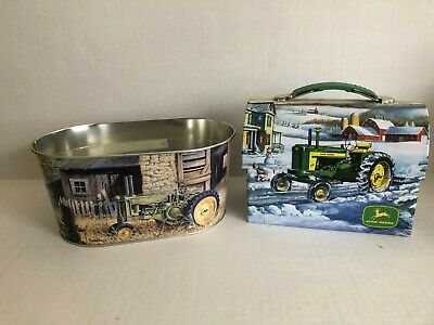"""JOHN DEERE 7"""" Metal Tin Lunch Box and Tin Tub- Licensed Product"""