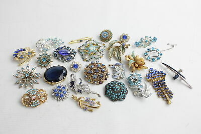 25 x Vintage BROOCHES & CLIPS inc. Exquisite, Sparkly, Floral, Statement