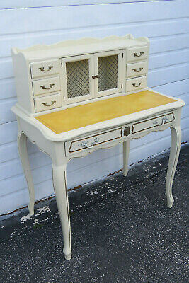 French Painted Leather Top Vanity Writing Desk With Flip Up Mirror 1272