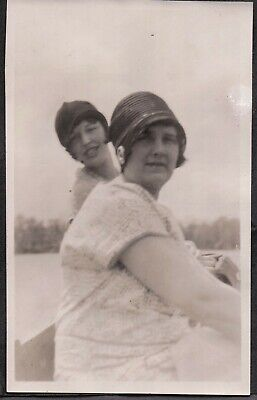 Vintage Photograph 1920'S Flapper Girls Hat Fashion Lake/River Maine Old Photo