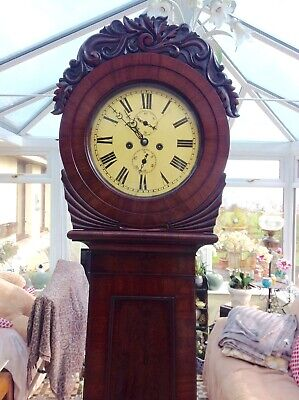 19th Century Scottish Drumhead longcase grandfather clock