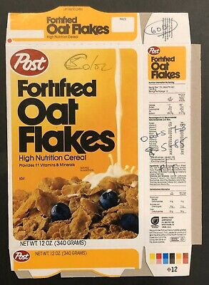 Vintage 1986 Post Fortified Oat Flakes Unused Color Test Cereal Box