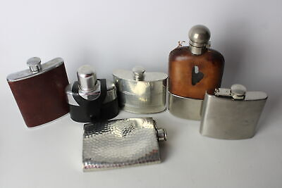 6 x Vintage BREWERIANA HIP FLASKS Inc. Silver Plate, Selwin Pewter, Leather Etc