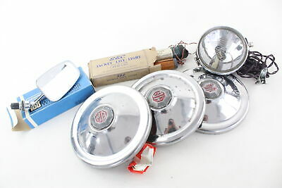 6 x Assorted Vintage Automobilia Inc MG Chrome Hub Caps, Wing Mirror Etc