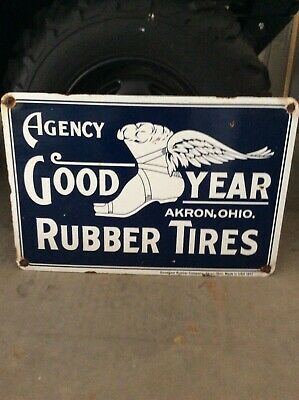 Vintage Porcelain  24 By 16 Inch Goodyear Tires Advertising Sign