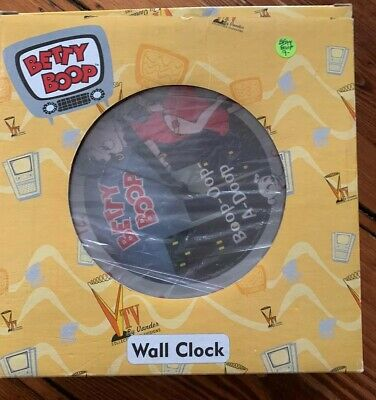 "NIB BETTY BOOP RARE! Clock 8"" Wall Mount Vander Quartz Signature Red Dress 10089"