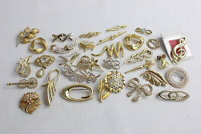 30 x Vintage Gold Tone 1980s BROOCHES inc. Gold Plated, Bow, Rhinestone