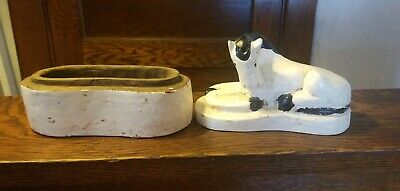 Antique Primitive American Folk Art Hand Carved Painted Wood Horse box AAFA