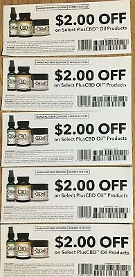 Lot Of 5 Coupons For $2 Off 1 SelectPlus CBD Oil Product exp 12/31/20 -$10 Value