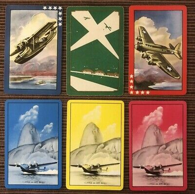 6 Vintage Playing Cards ~Military ~Propeller Planes ~CLIPPER ON RIO BAY ~5 Swaps