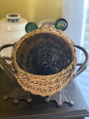Vintage Wicker Frog with Glass Eyes