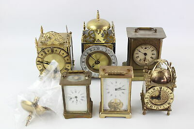 6 x Vintage CARRIAGE & LANTERN CLOCKS Electric, Hand & Key Wind Inc Brass Etc